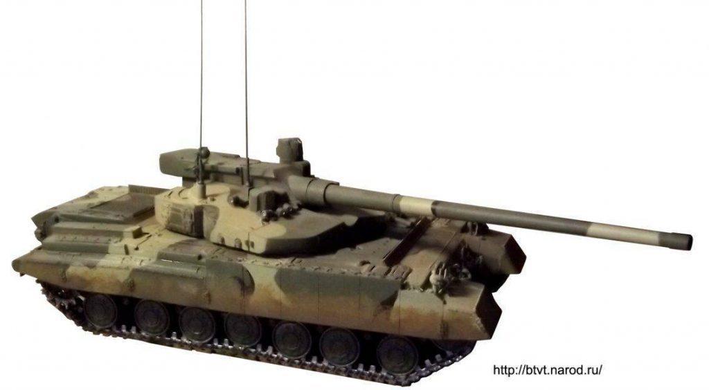 Modelo a escala del proyecto Buntar. Se van apreciando los detalles que delinearían al futuro Armata. Imagen: btvt.narod.ru