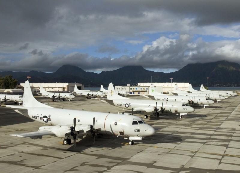 P-3C Orion de la armada norteamericana desplegados en la base de Kaneohe Bay, Hawaii, para participar del ejercicio RIMPAC. Imagen: US Navy.