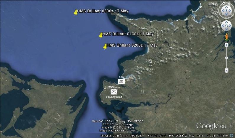 Operaciones HMS Brillant madrugada 17 de mayo. Montaje el autor.