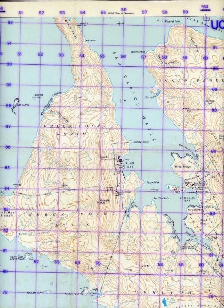 Mapa militar británico señalando Rokey Point y lugar del desembarco del SBS y equipo de fuego el 17 de mayo – Alejandro Amendolara.