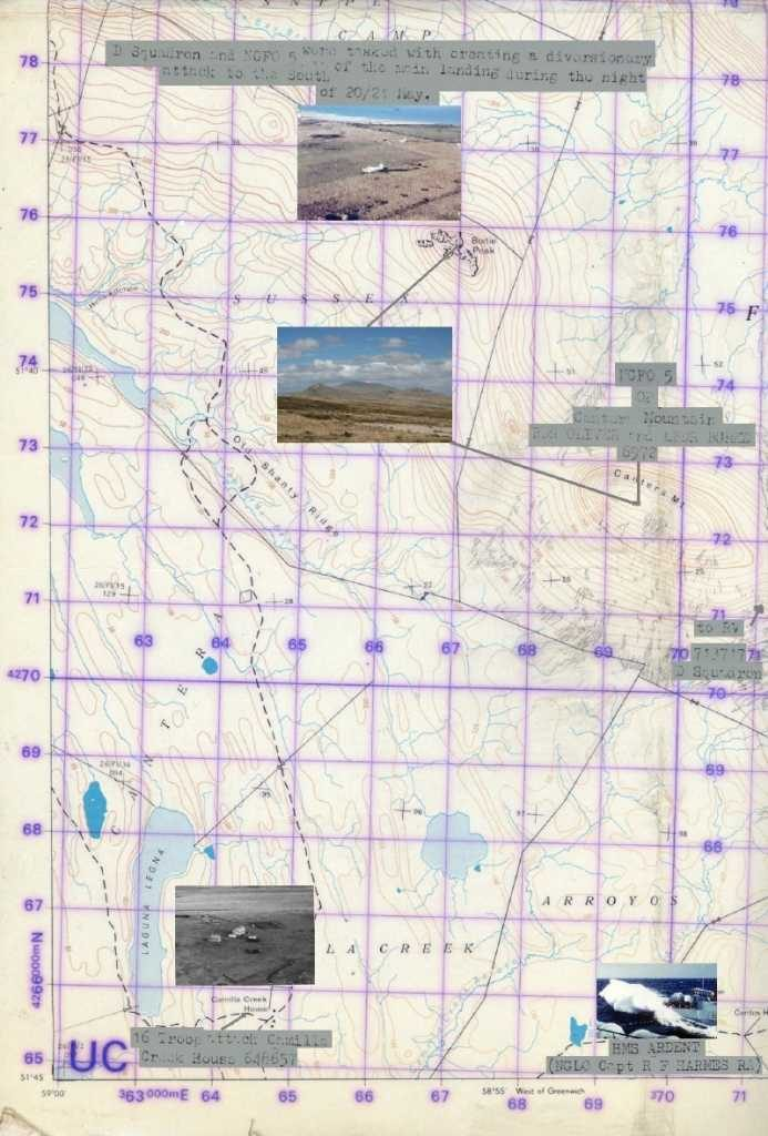 Mapa militar británico con algunos emplazamientos y objetivos – Alejandro Amendolara (mapa), montaje el autor.