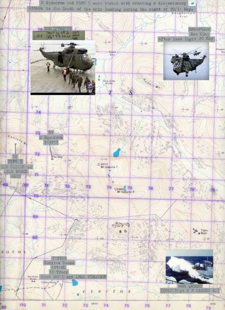 """Mapa militar británico con la ubicación """"The Gap"""" – Alejandro Amendolara, montaje el autor."""
