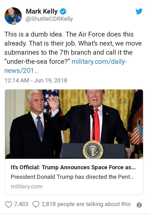 EE UU anuncia una sexta división del Ejército: la Fuerza Espacial 20180622_020201